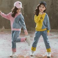 女童套装拼色卫衣运动牛仔裤子两件套