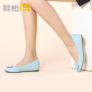 达芙妮旗下SHOEBOX/鞋柜甜美公主鞋尖头内增高浅口单鞋
