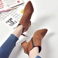 O'SHELL欧希尔新品060-69000欧美粗跟女士短靴