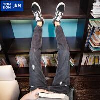 【1折价35.9元】唐狮秋冬装新款破洞牛仔裤男士修身小脚九分裤子男黑色青少年牛仔裤A