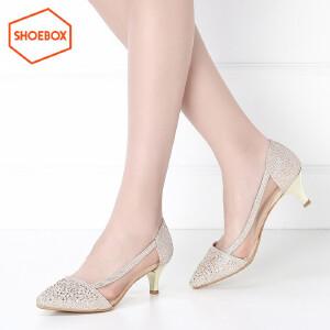 SHOEBOX/鞋柜春季尖头性感中跟女鞋浅口套脚酒杯跟单鞋