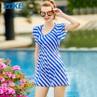 洲克(ZOKE)新款女士比基尼裙式三件套遮肚显瘦经典条纹性感吊带收腰沙滩温泉泳衣