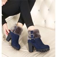 性感毛毛雪地靴韩版秋冬新款女鞋防水台粗跟皮带扣短靴高跟鞋