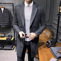 毛呢大衣男中长款韩版修身秋冬季帅气百搭青年英伦风呢子风衣外套