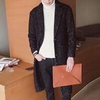 冬季新款男士韩版宽松羊毛呢大衣男长款呢子英伦风衣外套青年 黑色 M