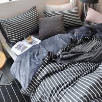家纺北欧男士冬季新款床上用品珊瑚绒四件套加厚全棉被套水晶绒床单