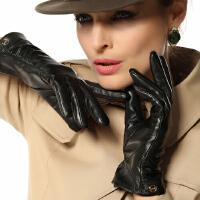 新款时尚真皮手套女士保暖进口羊皮丝滑里衬薄款真皮手套 可礼品卡支付