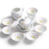 手绘功夫茶具套装办公室景德镇整套青花陶瓷盖碗茶杯