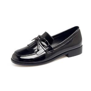 O'SHELL欧希尔新品106-P502欧美漆皮平跟流苏女士单鞋