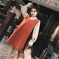 长袖打底衬衫韩版宽松显瘦无袖V领背心2018新款女装春装 时髦套装