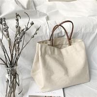 春季新款韩版休闲单肩包学生简约文艺手提包帆布布包购物袋大包包