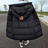 冬季中长款加厚棉衣男韩版修身棉袄外套青少年学生男士冬装潮 黑色