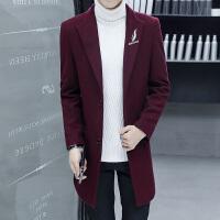 毛呢大衣男中长款韩版修身潮流帅气青年秋冬羊毛呢子风衣妮子外套 8778酒红色 M
