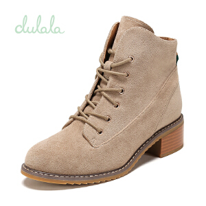 shoebox鞋柜冬款杜拉拉复古做旧低筒女靴系带粗跟马丁靴