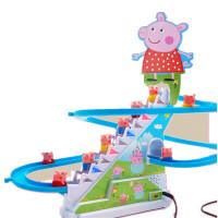 小猪佩琪爬楼梯玩具儿童佩奇猪电动滑滑梯轨道车上楼梯带灯光男孩 升级大号粉猪猪 配9个小猪送贴纸螺丝刀电池