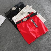 牛仔半身裙女夏红色弹力包臀短裙2018春季新款修身显瘦韩版一步裙