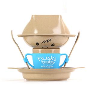 当当优品 壳氏唯稻壳创意环保餐具 儿童餐具套装组合 宝宝辅食套装 (海蓝)  奇奇