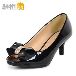 达芙妮旗下鞋柜蝴蝶结亮面浅口单鞋鱼嘴细跟鞋1115202207