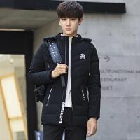 羽绒服男士冬季2017新款潮流韩版中长款外套男装修身轻薄学生冬装 黑色 M