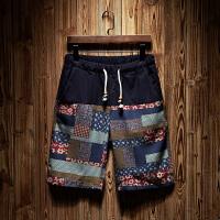 男士亚麻短裤男夏季民族风拼接五分裤运动休闲潮男沙滩裤