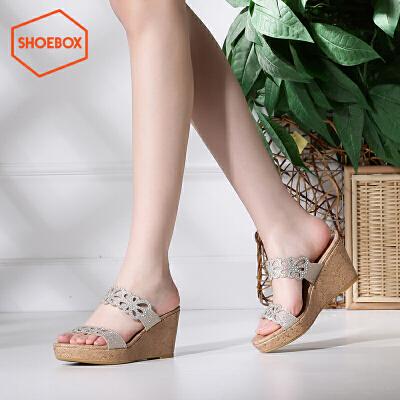 达芙妮旗下shoebox鞋柜夏季性感高跟一字拖凉鞋时尚水钻套脚女鞋
