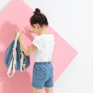 【尾品汇 5折直降】amii童装2017夏季新款女童圆领T恤中大童纯色休闲短袖夏装
