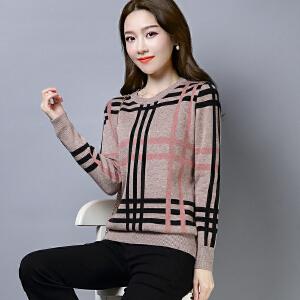 2018冬新品新款套头毛衣女格子民族风针织衫圆领大码打底衫