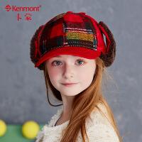 6-9岁儿童帽子秋冬季小女孩帽子男孩护耳棒球帽中童鸭舌帽女童帽4851