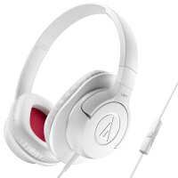 铁三角 ATH-AX1iS WH 头戴式手机通话耳机 白色