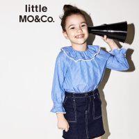 【折后价:119.7】littlemoco秋季新品女童荷叶边蕾丝花边圆领蓝白条纹长袖上衣