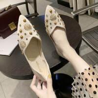 户外女士铆钉单鞋时尚休闲平底鞋气质舒适软底女鞋潮