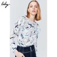 Lily2019秋新款女装印花气质荷叶边宽松雪纺衫清新长袖衬衫女8902