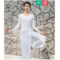 长袖简约飘逸纯色健身服空中瑜珈带胸垫初学者运动服瑜伽舞蹈服套装女