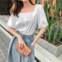 七格格很仙的雪纺上衣女2019新款夏季气质宽松短袖设计感白色小衫
