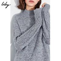 【此商品每满200减50,到手价349元】 Lily2019冬新款女装优雅气质灰蓝半高领宽松蝙蝠袖不对称毛衣8928