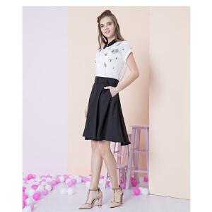 zdorzi卓多姿夏装新款显瘦韩版纯色腰带中半身裙伞裙女732582