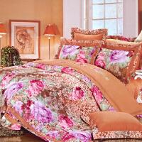 伊迪梦家纺 全棉贡缎色织大提花转移印花床上用品四六七件套 加厚夹棉床罩式家纺奢华多件套1.8-2.0m米大规格床HB0