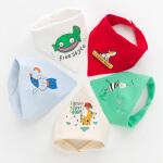 【49选2】婴儿三角巾口水巾5条装纯棉宝宝围嘴双层按扣新生儿