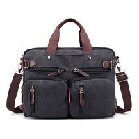 多功能男单肩帆布包大容量手提电脑包两用双肩包商务斜跨旅行背包