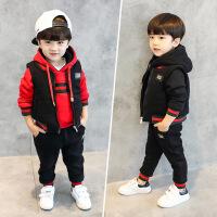 宝宝冬装男1-3岁7潮套装韩版2017童装冬季男童男宝加绒卫衣三件套