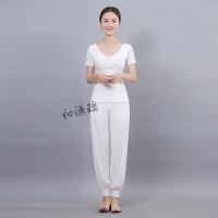 春夏新款白色黑色瑜伽服套装灯笼裤练功健身舞蹈服表演服显瘦女