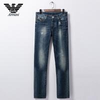 正品Armani阿玛尼 男士潮流破洞牛仔裤 中腰小直脚 V6J50 3Z