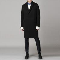 新款秋冬男士毛呢大衣羊绒中长款休闲加厚青年韩版宽松羊毛呢外套 黑色 S