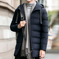 冬季棉衣男中长款加厚韩版修身帅气2017新款潮流男装冬装棉袄 藏青色 S