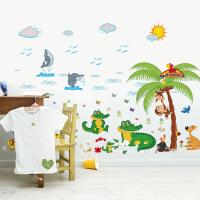 装饰贴卡通鳄鱼墙贴画墙纸自粘儿童房卧室温馨幼儿园墙面装饰品贴纸 沙滩鳄鱼 特大
