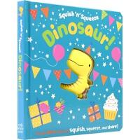【首页抢券300-100】Squish 'n' Squeeze Dinosaur! 恐龙捏捏乐纸板书 具象感知触摸书 数