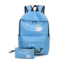 小学生书包4-5-6年级男孩女孩初高中双肩包韩版帆布旅行背包女童 海豚蓝色 送同款笔袋