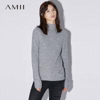 【双12全场5折封顶】Amii[极简主义]镂空针织半高领毛衣女2017冬装新纯色长袖修身上衣