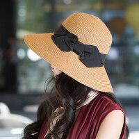 户外运动太阳帽女防晒洋气时尚潮百搭帽子女士沙滩旅游凉帽可折叠遮阳草帽