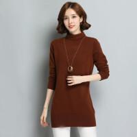 高领貂绒衫女中长款套头毛衣打底衫秋冬纯色羊绒衫加厚毛衣裙大码